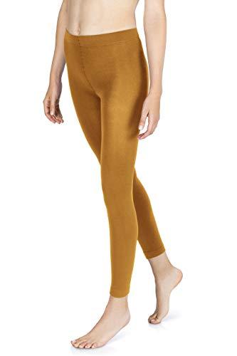 sockenkauf24 Damen THERMO Leggings mit Innenfleece in 10 Farben extra warm Winter Leggings (42/44, Ocker)