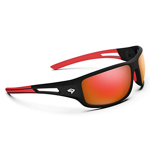 Torege Polarized Sports Sunglasses for Men Women Cycling Running Driving Fishing Golf Baseball Glasses EMS-TR90 Unbreakable Frame TR03 (Matte Black&Red frame with Red lens)