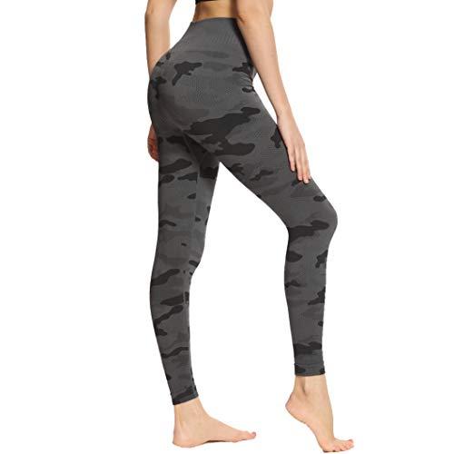 Eono Amazon Brand Yoga Leggings Damen Sport Tights Hosen Sporthose High Waisted Sportleggins Lang Fitness Leggins, Medium-Camo Grau
