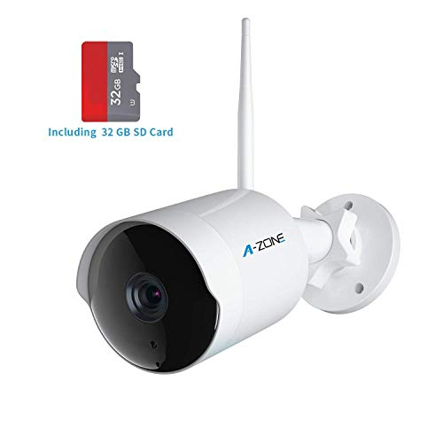Outdoor Security Camera - HD 1080P Bullet Camera 2.4G IP66 Waterproof 50ft Night Vision Home Surveillance IP Camera Two-Way Audio, Motion Detection Alarm/Recording, Including 32GB SD Card