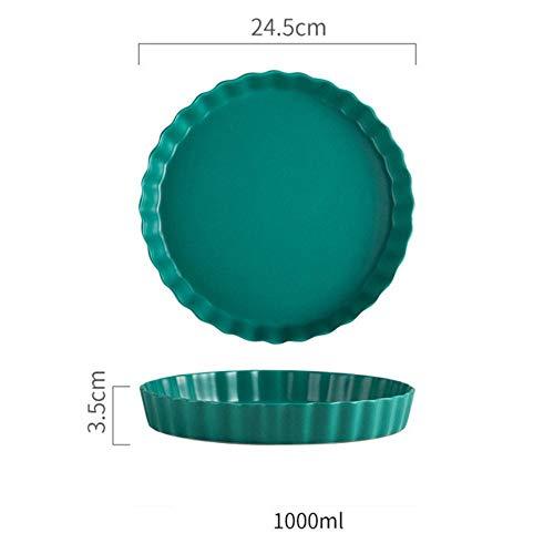 Qingsb 10 inch Nordic Wave ronde keramische plaat kort massief porselein mat dinerbord Huishoudelijke steak Pasta Sushi schotel Bakplaat, groen, 10 inch