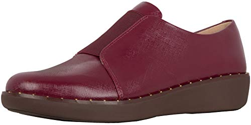 FitFlop Womens Laceless Derby Slip On Shoes, Lingonberry, US 6.5