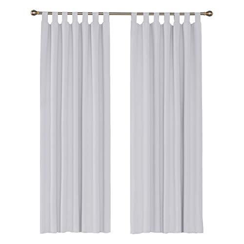 UMI. by Amazon 2 Schals Verdunklungsvorhang Blickdicht Vorhänge Gardinen mit Schlaufen 140x245 cm Weiß Grau
