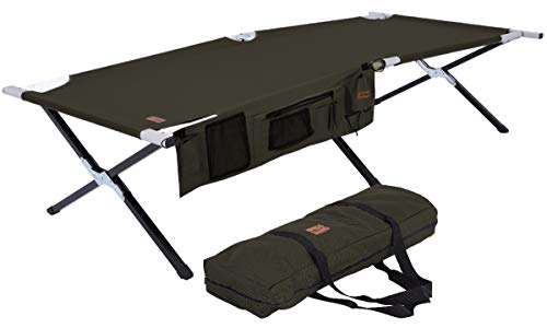 Tough Outdoors Camp Cot [XL] with Free Organizer & Storage Bag - Military Style Folding Bed for...