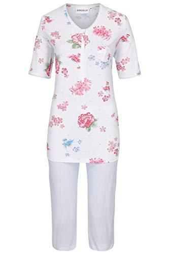Ringella Damen Pyjama mit Caprihose Weiss 40 0211238, Weiss, 40