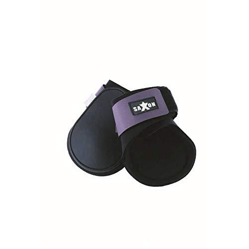 (サクソン) Saxon 馬用 曲線 フェトロックブーツ 球節ブーツ 馬装具 保護 プロテクター 乗馬 ホースライディング (コブ) (ブラック/パープル)