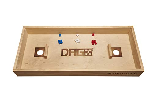 DAGZ Dice Party Game (2-4 Players) – Dice Board Game for Adults - Wooden Board Game Table Topper - Dice Game for Family