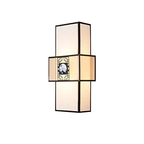 Slaapkamer Armaturen Retro Lamp van de muur, Bedroom TV Wall Wall Lamp Corridor Trap Muur Lamp Chinese Iron Art Keramiek bedlampje, 2 Heads E27, 24 * 13 * 50cm W Wandlamp Verlichting