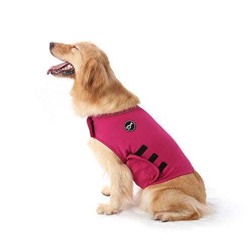 Mint Hundemantel zur Linderung von Angst,leichtes Wickelhelmd für Hunde mit Angstzustände (L, Rose rot)