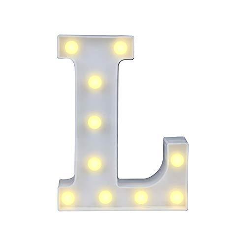 Lettere dell'alfabeto luminose a LED, luce bianca calda, decorazione per casa, feste, bar, matrimoni, festival. L