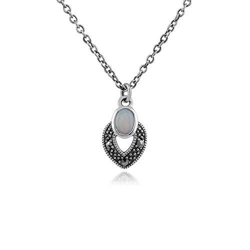 Gemondo Markasit Halskette, Sterling Silber Art Deco Opal & Markasit Halskette