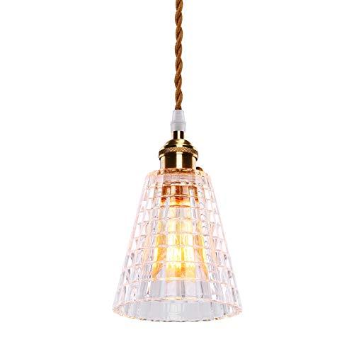 SISVIV Luz Vintage Lámpara Colgante Nordico Vidrio Iluminación Suspensión de Techo Rústico E27, Cristal Para Dormitorio Cocina Restaurante Comedor Latón Cuerda
