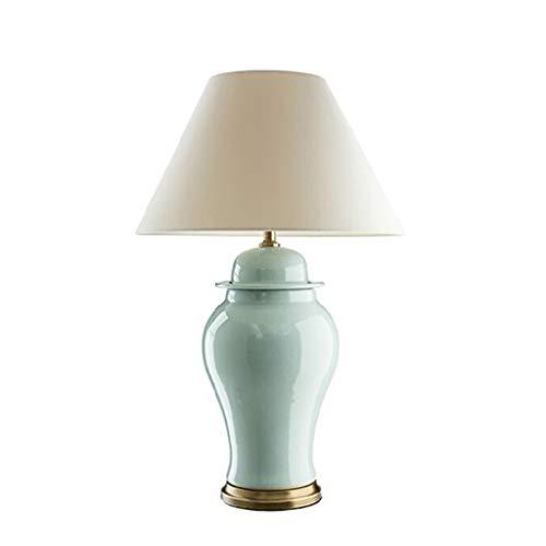 Iluminación Tabla moderna lámpara de mesa de noche lámpara de mesa de noche de la lámpara de sombra de cerámica oval blanco for el dormitorio de la sala Nursery lámpara de escritorio Mesilla Lamparas