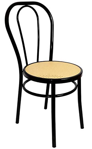 Thonet Bistro Style Rattan Chair - Black Metal & Plastic Rattan Furniture Seat - Italian Vintage Classic Modern Dining Or Desk Chair - Made in Italy