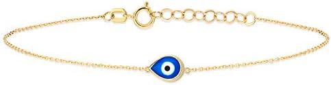 GELIN 14k Solid Gold Nazar Evil Eye Bangle Bracelet Evil Eye Jewelry for Women product image