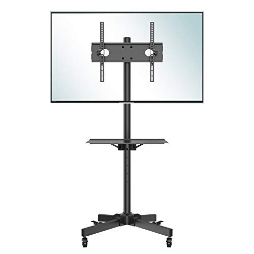 Rolling TV Stand, Mobile TV Stand with Wheels for 23-55 Inch LED, LCD, OLED Flat&Curved TVs, Height Adjustable TV Cart with Laptop Shelf and Locking Wheels, Holds Up to 55lbs Max VESA 400x400mm, Black