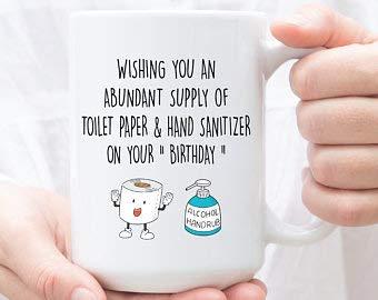 Pandemic Birthday Gift, Hand Sanitizer & Toilet Paper Gift, Social Distancing Mug, Quarantine Gift,...