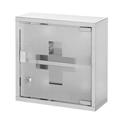 Armario de baño botiquín con Llave Plateado de Acero Inoxidable y Cristal de 30x12x30 cm - LOLAhome