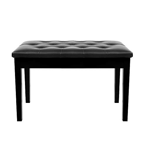 TOYEEKA Black 29'' Solid Wood PU Leather Double Duet Piano Stool Keyboard Bench with Storage, Load 440lb