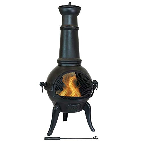 Cast Iron Outdoor Chiminea with Wood Grate and Poker - 42-Inch | Shopping4Us