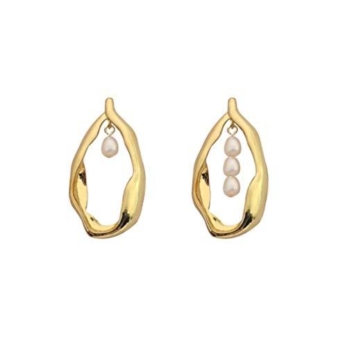 MXHJD Pendientes de gota de agua geométricos de Metal de tendencia para mujer, pendientes de perlas de agua dulce, pendientes llamativos, joyería