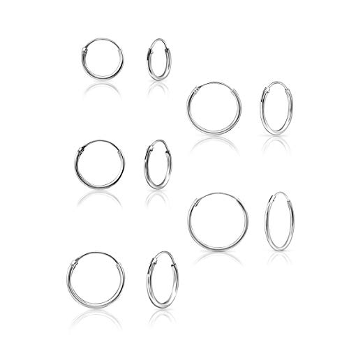 DTPSilver - Set of 5 Pairs of Hoops Earrings in 925 Sterling Silver - Thickness 1.2 mm - Diameter 10, 12, 14, 16, 18 mm