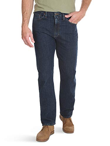 Wrangler Authentics Men's Classic 5-Pocket Regular Fit Jean, Dark Indigo Flex, 42W x 32L