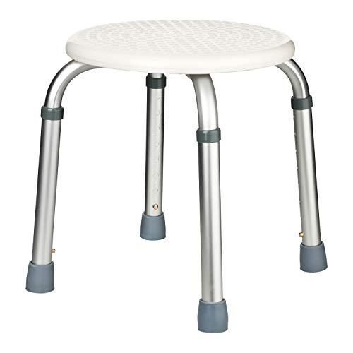 flexilife Duschhocker Rund Badehocker Höhenverstellbar mit Struktur Sitzfläche, Schwangere Frauen und Senioren