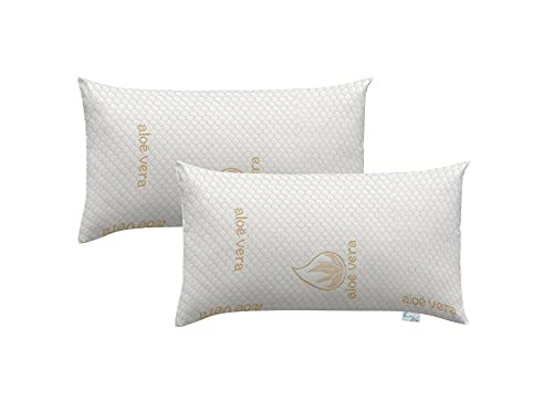 Bypillows - Pack de 2 almohadas copos viscoelastica de 75x38 cm lavables y transpirables (AMM752)