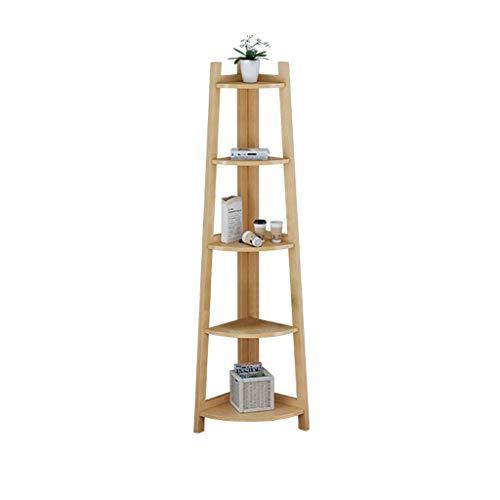 LUYIASI- Holz Regale Bücherregal Landing Blumen Halter Ecke Lagerregal Kreative Trapez-Regale Shelf (Farbe : Holzfarbe)