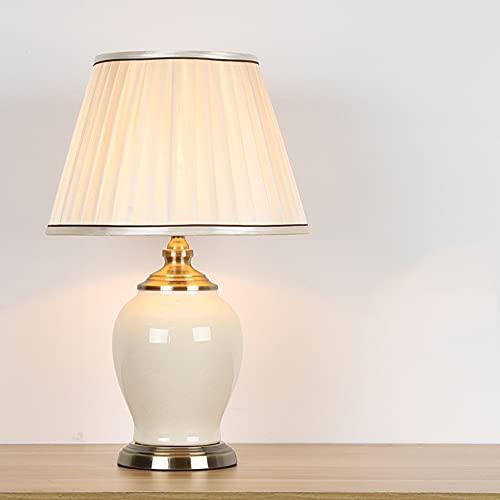 WUYIGE Lámpara de mesa china de cerámica fina hecha a mano, todo cobre, modelo clásico americano europeo, habitación de hotel, sala de estar, luz nocturna, decoración de tela, lámpara de cabecera retr