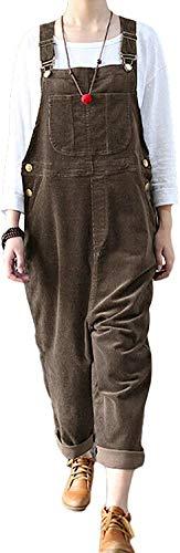 Trieskull Frauen Casual Baggy Cord Breite Bein Hosen Latzhose Overalls mit Taschen (Coffee,L)