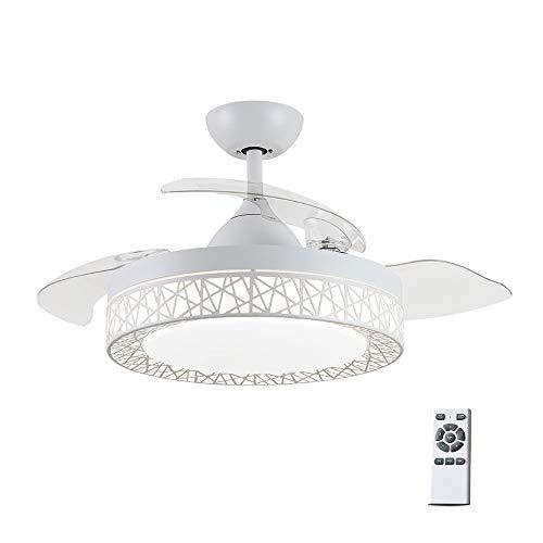 Luz del ventilador de techo con luz Fan control remoto Chandelier,Modern Fashion Retractable Blades Ventilador de techo,42inch,72W, interior hogar Iluminación de techo para sala de estar Dormi