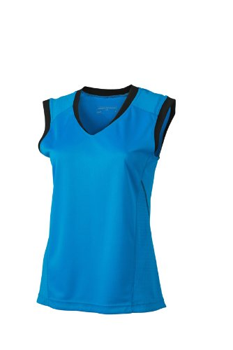 JAMES & NICHOLSON Shirt Ladies Running Tank Maternité, Bleu (Atlantic/Black), (Taille Fabricant: Small) Femme