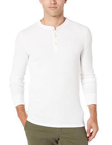 Amazon Essentials Regular-Fit Long-Sleeve Waffle Henley Camicia, Bianco, XS