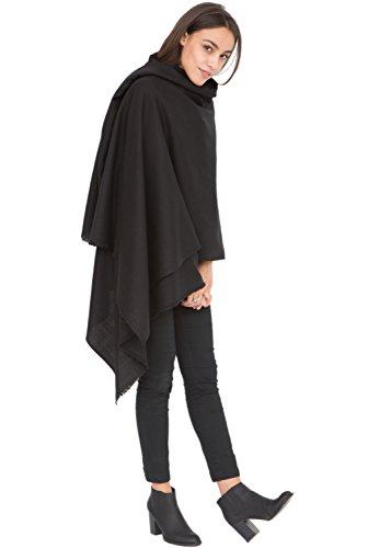 likemary Kasa sciarpa grande da donna in lana merino, scialle donna elegante e avvolgente, sciarpa scialle ideale per viaggiare, 100% pura lana tessuta a mano, regalo etico per donna nero