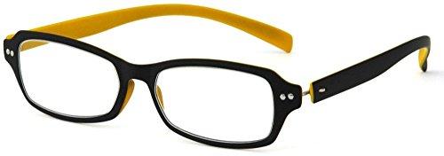 デューク 老眼鏡 +3.0 度数 ネオクラシック 超軽量フレーム ソフトケース付き マットブラック マットイエロー GLR01-9+3.00