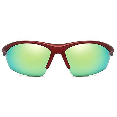MGWA Gafas de sol Medio Marco de Equitación al aire libre Deportes Material PC Gafas de sol de vino Rojo Marco de Oro Lente de los Hombres Polarizados De