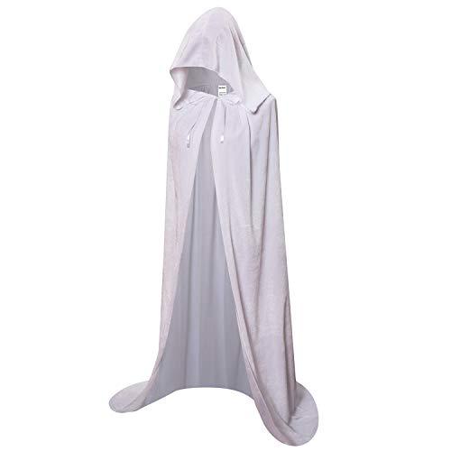 OurLore Unisex Full Length Hooded Robe Cloak Long Velvet Cape Cosplay Costume 59 inch(White)