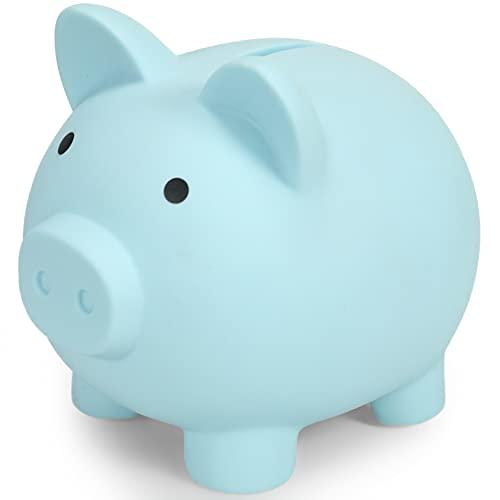 Piggy Bank for Kids | Pig Money Bank Plastic | Baby Shower & Birthday & Children's Day & Christmas Gift | Nursery Decor | Blue
