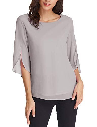 GRACE KARIN Solid Color Scoop Neck 3/4 Sleeve Chiffon Blouse Size S Light Grey