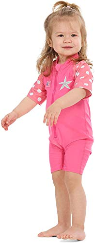 Juicy Bumbles UV Badeanzug Mädchen Kinder UV Schutz Schwimmanzug Mädchen - Einteiliger UV Schutzkleidung - Kurzarm Sonnenanzug UPF50+ Seestern 4-5 Jahre