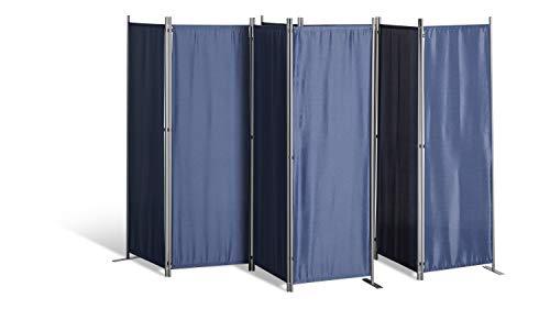 Grasekamp kwaliteit sinds 1972 2 stuks Paravent 4-delig kamerverdeler scheidingswand inkijkbescherming blauw