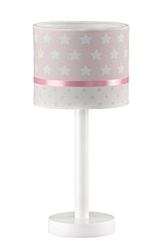 Lampara infantil Mesita/Mesilla/Sobremesa/Lampara Bebe/Estrellas Rosa