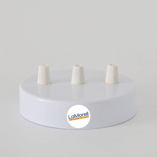Baldachin 3-Bohrlöcher Zylinder Metallic Weiß 120mm, Aufhängebügel, Schrauben und Kabelhalter. Made in Italy
