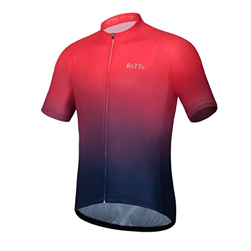 ROTTO Cycling Jersey Men Bike Shirts Short Sleeve Gradient Color Series