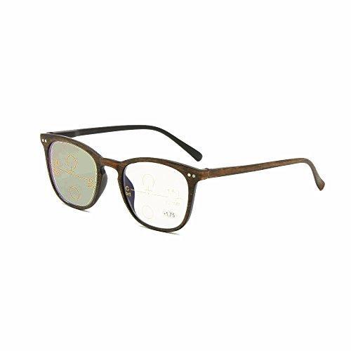 Transición fotocromática progresiva multi Focus gafas de lectura nerd retro varifocal no línea gradual + RX clarividente UV400 gafas de sol (+1.50, Trans-Progress(marrón))