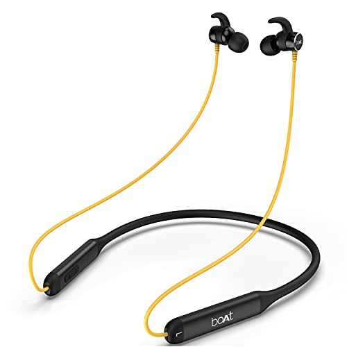 boAt Rockerz 330 Wireless Neckband with ASAP Charge, Up to 30H Playback, Enhanced Bass, Metal Control Board, IPX5, Type C Port, Bluetooth v5.0, Voice Assistant(Blazing Yellow)