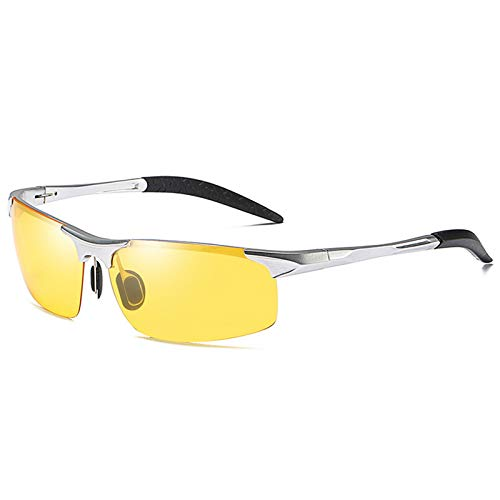 LALB Gafas De Sol, Gafas De Sol Polarizadas para Deportes De Medio Marco De Magnesio De Aluminio para Hombre, Visión Nocturna Día Y Gafas De Sol Polarizadas Nocturnas,D