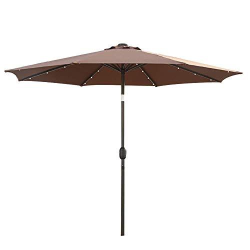 H-BEI Jardín con manivela, toldo con sombrilla de 2,7 m para terraza al Aire Libre, protección Solar en el Patio, con Luces LED y Panel de Almacenamiento Solar, 8 Varillas